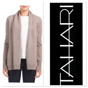TAHARI Tan Brown Pure Luxe 100%Cashmere Open front